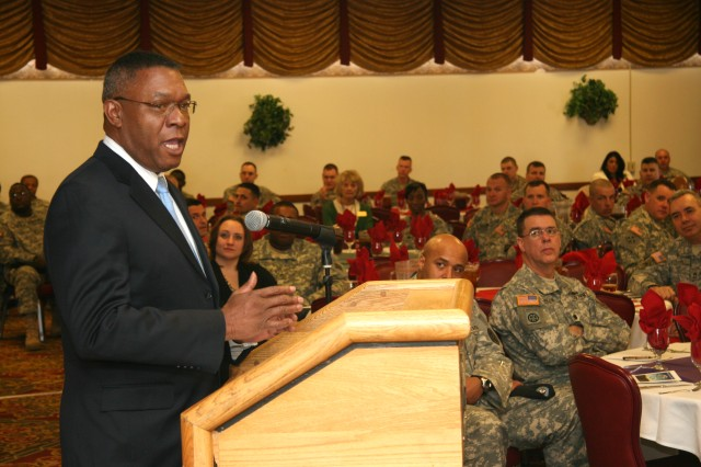 FORT CARSON, Colo.-Retired Command Sgt. Maj. Terrance D. McWilliams speaks during the Feb. 19 Black History Month observance at the Elkhorn Conference Center.