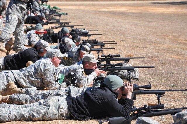 Soldiers shoot at targets 800 yards away during the long-range portion of the 2010 All-Army Small Arms Championships Feb. 25, on Fort Benning, Ga.