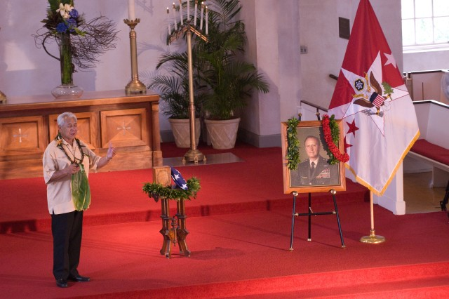 "HONOLULU - Danny Kaleikani sings ""Iesu Me Ke Kanaka Wai Wai,"" (Jesus and The Rich Man), a traditional Hawaiian hymn, during a funeral service for Gen.  (ret.)Frederick C. Weyand at the Central Union Church here, Feb. 26. Weyand, who died Feb. 10, held many positions during his military career, including the last commander of U.S. military operations in Vietnam, commander of 25th Inf. Div., commander of U.S. Army Pacific, and U.S. Army Chief of Staff."