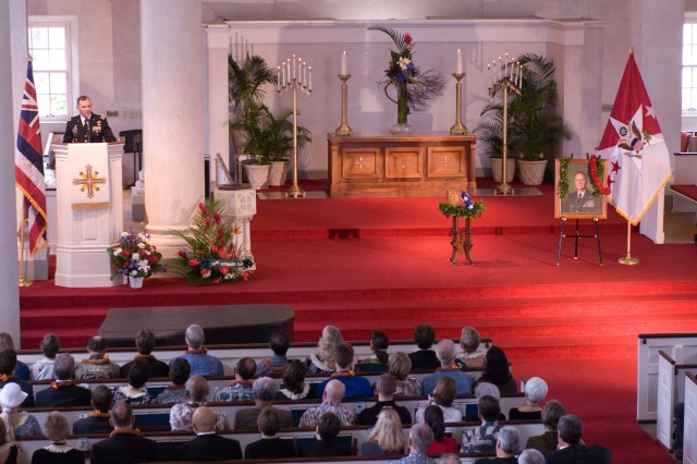HONOLULU - Lt. Gen. Benjamin R. Mixon, commanding general, U.S. Army Pacific, remembers Gen. Frederick C. Weyand in a eulogy during a funeral service for Weyand at the Central Union Church here, Feb. 26. Weyand, who died Feb. 10, held many positions during his military career, including the last commander of U.S. military operations in Vietnam, commander of 25th Inf. Div., commander of U.S. Army Pacific, and U.S. Army Chief of Staff. (U.S. Army photo by Staff Sgt. Tim Meyer, 25th Inf. Div. Public Affairs.)