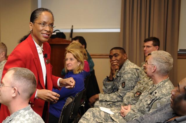 Dr. La Vonne I. Neal, guest speaker, addresses the crowd during the USASMDC/ARSTRAT Black History Month Observance.