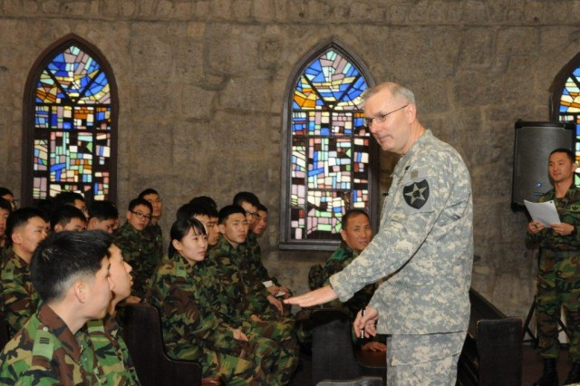 Maj. Gen. Michael S. Tucker, 2nd ID commanding general, delivers a presentation to third-year cadets of the Korea Military Academy Feb. 12 at the CRC chapel.