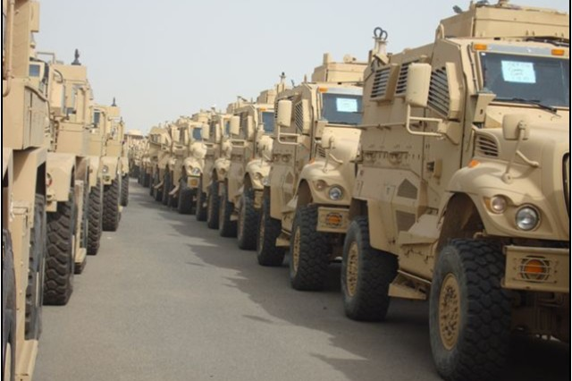 Rows of mine-resistant, ambush-protected vehicles waiting for shipment.