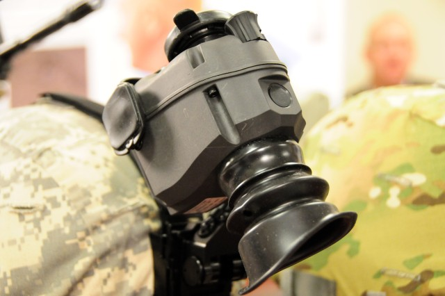 The ENVG(D) monocular night vision device was one of the systems on display during a media roundtable, March 2, at the Pentagon with Program Executive Office Soldier. The system includes an infrared illuminator and allows Soldiers to see in low light situations.