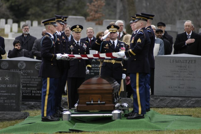 Gen. Alexander Haig is laid to rest by the Soldiers of the 3rd U.S. Infantry Regiment (The Old Guard) in Arlington National Cemetery, Va. on March 2. Haig, who died February 20th, served three U.S. Presidents, and was the Secretary of State under former U.S. President Ronald Reagan.
