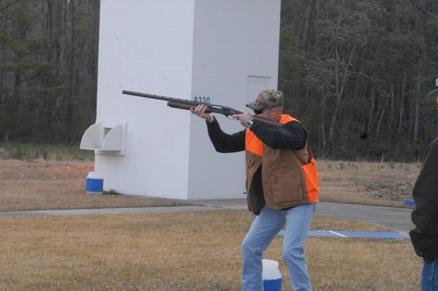 Colonel Kevin Milton, Stewart-Hunter garrison commander, prepares to shoot during the 50-Bird Skeet Shoot competition held at Fort Stewart's skeet  and trap range near Holbrook Pond, Feb. 27. The competition is a big hit with hunters, seasoned shooters and those who just want to learn to shoot.