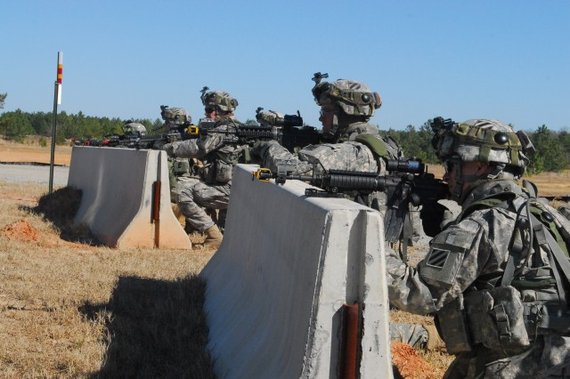 Soldiers with Co. B, 3/7 Inf. Regt., undergo a cordon and search operation as part of Vanguard Focus at Fort Stewart, March 1.