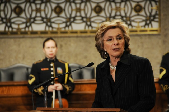 Sen. Barbara Boxer of California, speaks during the Joint Services Women's History Month Observance on Capitol Hill Thursday, where she presented a Senate Resolution to recognize the accomplishments of women in the military.