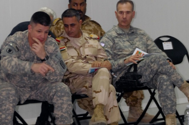 Iraqi Army Staff Maj. Gen. Aziz Noor Swady al-Dalmy (center), the commanding general of the Iraqi Army's Basra-based 14th Division, was briefed by the Soldiers and Sailors of the 17th Fires Brigade-led Task Force Thunderbolt at their headquarters at Contingency Operating Base Basra, March 1. Dalmy  was joined by Brig. Gen. Randal A. Dragon (right), the United States Division-South deputy commanding general for sustainment, and Col. Steven L. Bullimore (left), the commander of 17th FiB, which, with Navy and other Army elements, operates in Basra province as TF Thunderbolt.