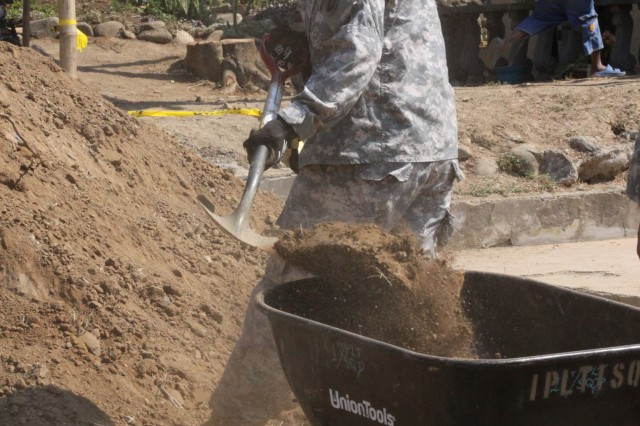 A U.S. Army soldier fills a wheelbarrow with backfill dirt that will be used to set footings for a new schoolhouse structure February 16, 2010 at the Pias Elementary School in Salcedo, Ilocos Province, Philippines.  The schoolhouse build is one of several Engineer Civil Action Projects (ENCAP) taking place during Balikatan 2010.   Balikatan 2010 is a bilateral exercise and security assistance program between the U.S. military and the Armed Forces of the Philippines.  The exercise ensures disaster relief efforts are more responsive, efficient and effective and complement U.S. and Philippine reconstruction efforts done in the wake of the typhoons that devastated parts of the Philippines in 2009.