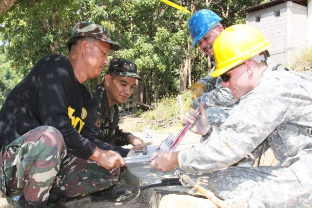 Armed Forces of the Philippines and U.S. Army Soldiers work together to connect electrical conduit to supply power to a new schoolhouse structure on February 16, 2010 at the Pias Elementary School in Salcedo, Ilocos Province, Philippines.  The schoolhouse build is one of several Engineer Civil Action Projects (ENCAP) taking place during Balikatan 2010.   Balikatan 2010 is a bilateral exercise and security assistance program between the U.S. military and the Armed Forces of the Philippines.  The exercise ensures disaster relief efforts are more responsive, efficient and effective and complement U.S. and Philippine reconstruction efforts done in the wake of the typhoons that devastated parts of the Philippines in 2009.