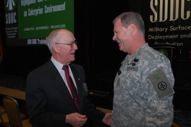 Lt. Gen. John Bruen,  SDDC commanding general from 1979-1983, talks with Maj. Gen. James Hodge, SDDC commanding general, before the opening of the SDDC 2010 Training Symposium.