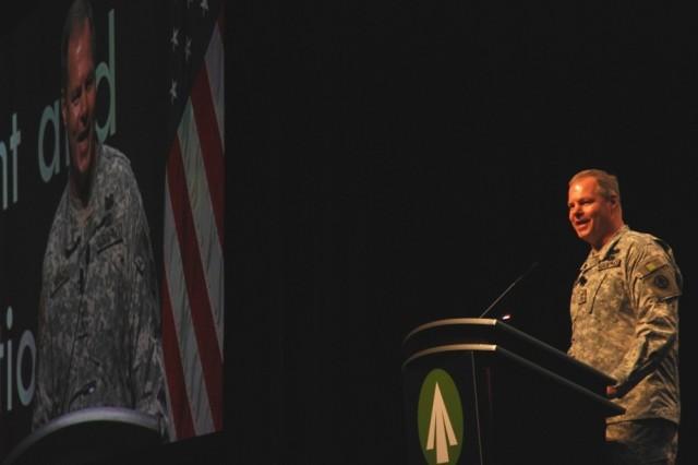 Maj. Gen. James L. Hodge, SDDC commanding general, makes opening remarks at the 2010 Training Symposium in Atlanta.