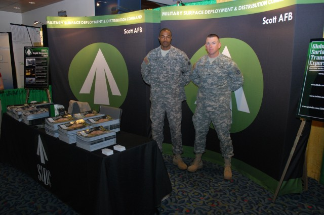 Sgt. Darwynn McPherson, SDDC Soldier of the Year, and Sgt. Billy Richardson, SDDC NCO of the Year, man the command's exhibit at the NDTA Expo.