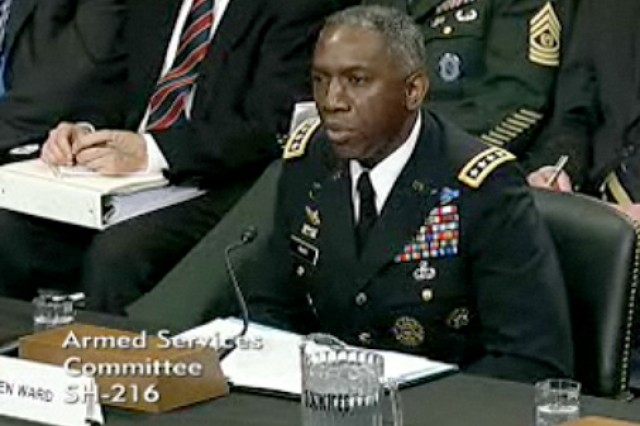 WASHINGTON, D.C. - General William E. Ward, commander of U.S. Africa Command, testifies before the Senate Armed Services Committee, March 9, 2010, as part of an annual requirement for regional military commanders. During his testimony, Ward provided an overview of the strategic environment in Africa, explained the command's strategic approach, and showed how security cooperation efforts promote stability in support of U.S. foreign policy and national security objectives. (U.S. Senate Armed Services Committee screen shot)
