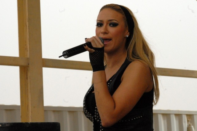 Singer Kaya Jones performs for the Soldiers assigned to Contingency Operating Station Endeavor, Iraq, Feb. 24, 2010. Jones, a former member of the Pussycat Dolls, signed autographs and posed for pictures after her performance.