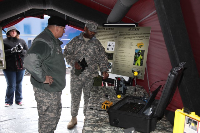 Lt. Gen. Jack Stultz, the chief of the Army Reserve, is shown test equipment during his visit to Europe by Staff Sgt. Ralph Lahens, 773rd Civil Support Team, at Daenner Kaserne, March 6. The civil support team here is the only Active Guard Reserve element outside the continental U.S. and its territories to conduct assessments of natural or man-made disasters.