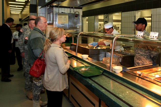 Lt. Gen. Rick Lynch, commander of Installation Management Command, and wife, Sarah, survey facility renovations during a conversation with Wiesbaden Dining Facility manager Terence Smith prior to a March 8 tour of U.S. Army Garrison Wiesbaden facilities and housing areas.