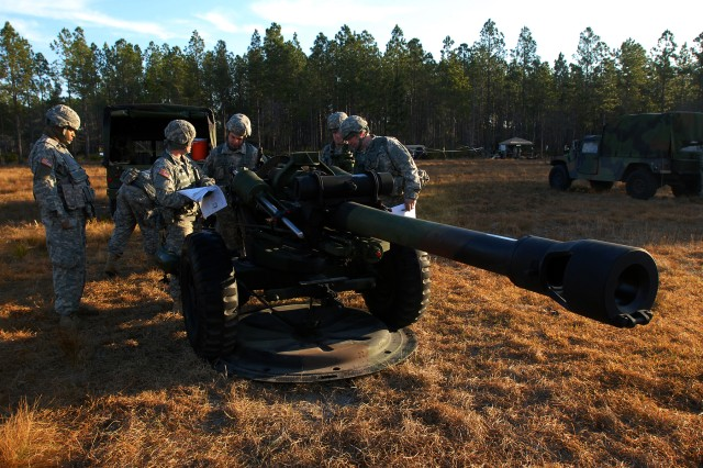 CAMP BLANDING, Fla--An A Battery gun crew begins to inspect their M119A2 howitzer the morning of March 8 at Camp Blanding, Fla. The Soldiers are members of the New York Army National Guard's 1st Battalion, 258th Field Artillery Regiment.