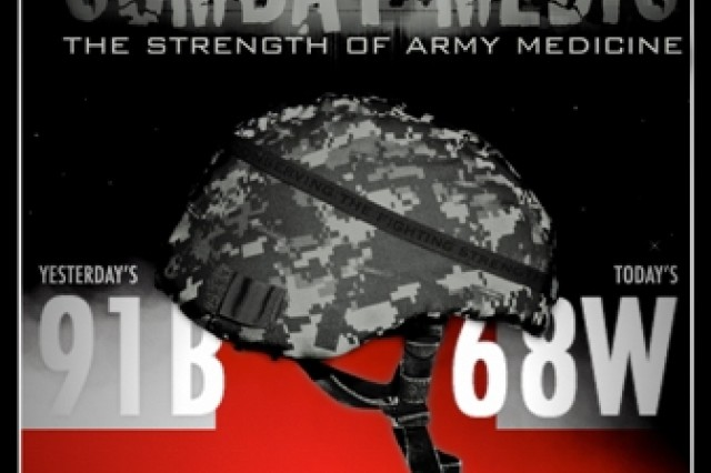 The winning submission for the Combat Medic (68W) transition poster contest is by SGT Christopher Giddinge (68W) U.S. Army Medical Research Institute of Infectious Disease (USAMRIID), Fort Detrick, MD.