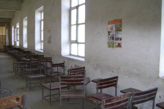 Chairs and desks line the wall inside an Afghan school. In February, the Sierra Vista Noontime Rotary Club mailed 3,000 sharpened pencils and 60 calculators to Afghanistan, in hopes of improving the schoolchildren's quality of education.