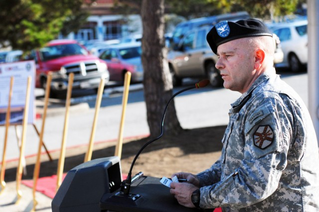 """PRESIDIO OF MONTEREY, Calif. Aca,!"""" Presidio Garrison Commander Col. Darcy A. Brewer speaks at the ground-breaking ceremony here March 10."""