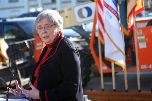 "PRESIDIO OF MONTEREY, Calif. Aca,!"" Deputy Under Secretary of Defense for Plans Gail McGinn speaks at the ground-breaking ceremony here March 10."