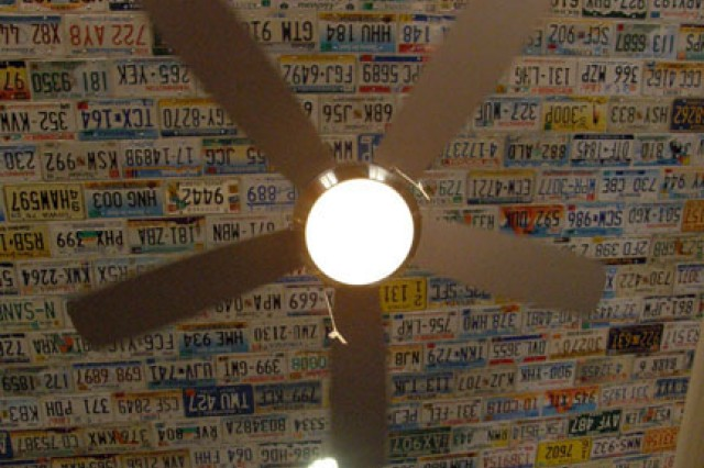 The ceiling of Fort Polk's Dogwood Terrace Neighborhood Center's club room is lined with license plates.