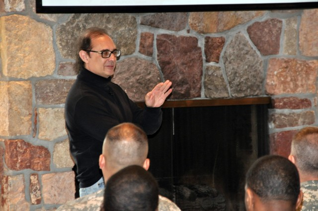 FORT CARSON, Colo.-Carl DeLorenzo, professor of history at St. Peter's Preparatory School, Jersey City, N. J., speaks about the history of the Middle East to members of the 43rd Sustainment Brigade. March 3.