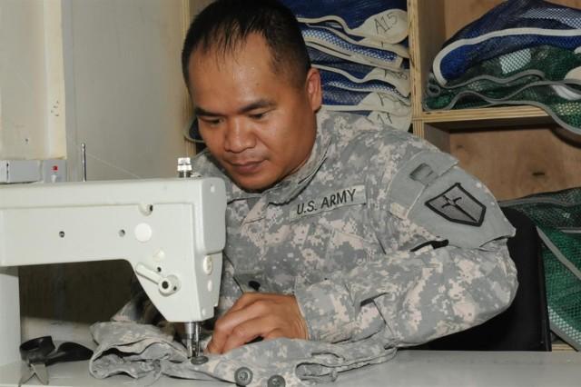 Quartermaster Soldiers keep service members' uniforms looking sharp
