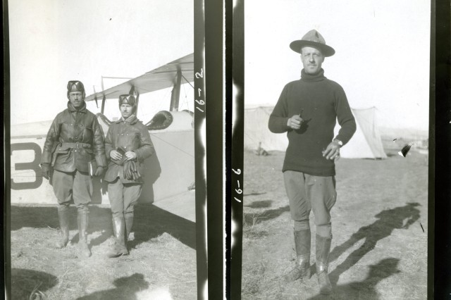 Foulois on the Ground:Left Picture: Mexican Punitive Expedition, May 13, 1916, Captain Foulois with an unidentified airman. (Mexican Border Service Photograph Collection). Right Picture: Mexican Punitive Expedition, May 13, 1916, Captain Foulois with camp in the background. (Mexican Border Service Photograph Collection).