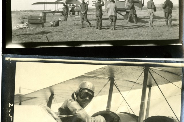 Fly 'em and Fix'em: Top Picture: Mexican Punitive Expedition, May 13, 1916, 1st Aero Squadron Airplane No. 43 being repaired. (Mexican Border Service Photograph Collection). Bottom Picture: Mexican Punitive Expedition, May 2, 1916, Captain Foulois preparing for a flight. (Mexican Border Service Photograph Collection).