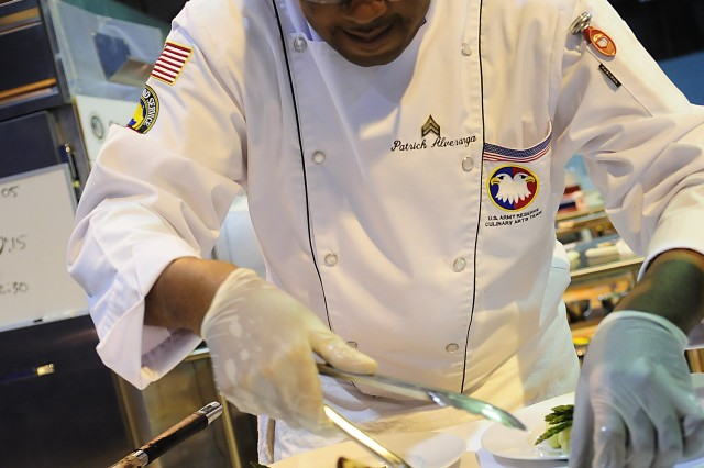 Army Reserve Sgt. Patrick Alveranga plates up his dish during the Contemporary Category event at the 35th U.S. Army Culinary Arts Competition at Fort Lee, Va. on Wednesday, March 10, 2010.