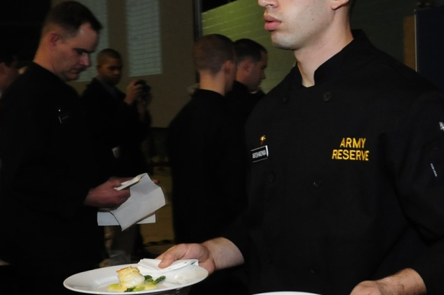Army Reserve Spc. Daniel Arshadnia competes in the 35th Army Culinary Arts Competition