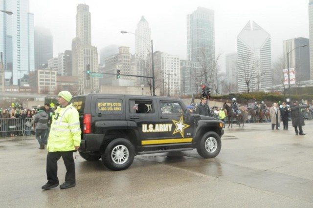 A close-up look of the Army-branded H3 that brought up the rear of the parade for Soldiers from the U.S. Army Chicago Recruiting Battalion, that marched in the 2010 Saint Patrick's Day Parade, on Saturday, 12 March for over 200,000 Thousand spectators in downtown Chicago.