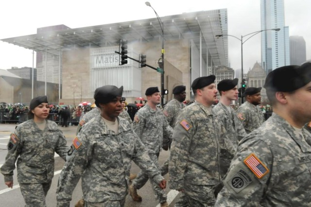 Sgt. Kashonna Castro and Staff Sgt. Sophia Gonzales are just a few of the Soldiers that marched along Columbus Street in downtown Chicago, IL, for the 2010 Saint Patrick's Day Parade.  The event was held on Saturday, 12 March, with over 200,000 spectators in attendance.