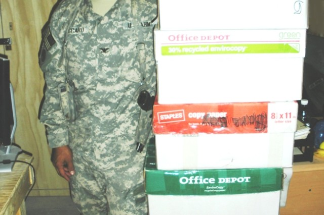 Col. Thomas Vaccaro, Chief, Distribution Management Center 143rd Sustainment Command (Expeditionary) Joint Sustainment Command, received cartons from PM Command Posts while he was in Afghanistan.