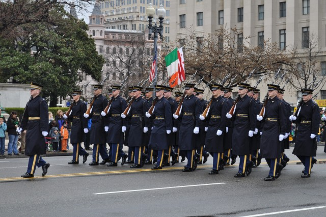 Soldiers of the 3d U.S. Infantry Regiment (The Old Guard) march down Constitution Ave. in Washington DC's Saint Patrick's Day Parade on Sunday, March 14.