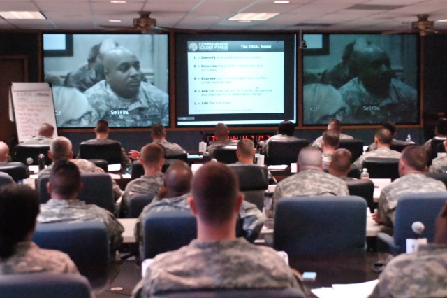 Soldiers in a Master Resiliency Training class at Fort Hood, Texas, interact via video teleconference with Soldiers at the University of Pennsylvania in Philadelphia, March 12. The 10-day MRT course, held at First Army Division West headquarters in conjunction with the Philadelphia class, is only the fourth Army-wide MRT session that has been held.