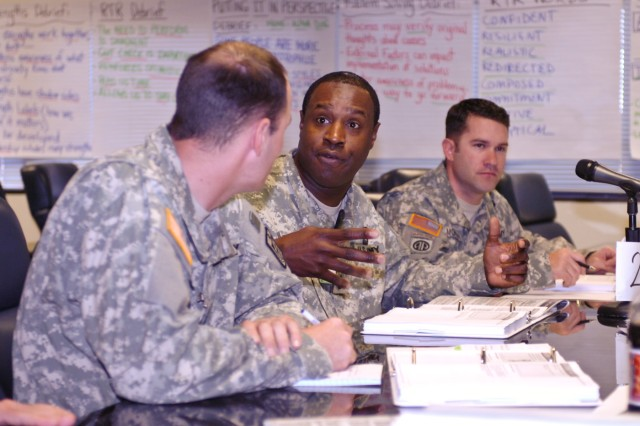 Sgt. 1st Class Cedric Shegog, a staff member of the Fort Hood Resiliency Campus, participates in a discussion during Master Resiliency Training, March 13. The 61 Soldiers in the Fort Hood, Texas, class graduated March 17.