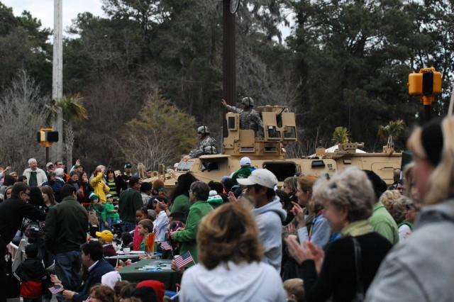 Sixth Squadron, Eighth Cavalry Regiment Soldiers were greeted with loud cheers and zealous waves from spectators at the 27th annual Hilton Head Island, S.C., St. Patrick's Day Parade.