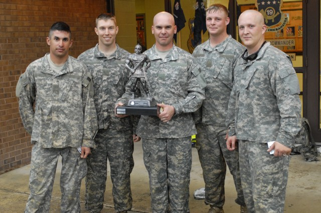 C Company won the inaugural CSM Quarterly Physical Fitness Challenge staged Friday at Sand Hill by 2nd Battalion, 19th Infantry Regiment. The winning five-man team, pictured from left - SSG Jason Reed, CPT Thomas Schlichter, SFC Erick Ochs, SSG Josh Sedivy and SSG Justin Wells - pose for a photo with the first-place trophy. C Company edged out the CSM-1SG team by only one point.  The three-hour competition included seven combat-oriented stations spread over a course nearly six miles long. A total of 35 cadre members from 2nd Bn., 19th Inf. Regt., participated in the event.  The winners each received a $25 gift card, 198th Infantry Brigade and battalion coins, and had their names added to the CSM Quarterly Physical Fitness Challenge trophy.