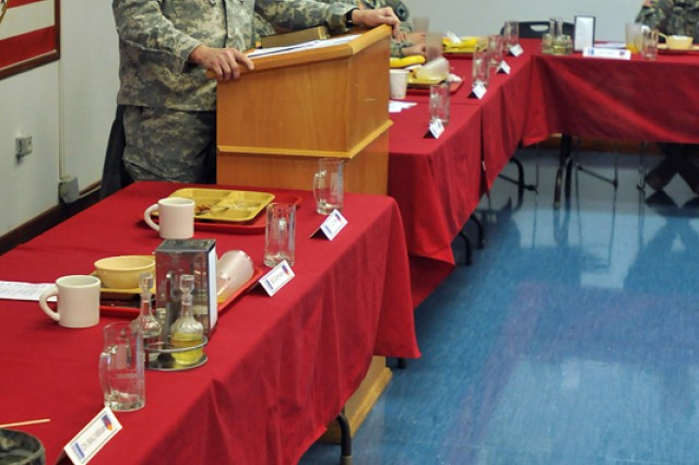 Chaplain (Col.) Charles R. Bailey, command chaplain for U.S. Army Europe, speaks to Kosovo Forces 12, Multi-National Battle Group-East Soldiers during a prayer breakfast held recently at Camp Bondsteel, Kosovo. The prayer breakfast focused on how Soldiers persevere through deployments.