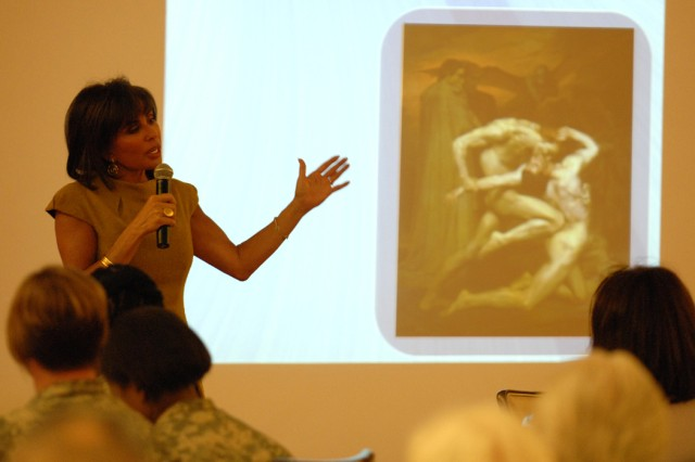 Jeanine Pirro talks to Soldiers, Marines and civilian employees about women's suffrage, from 1776 through today. The women's observance was held Wednesday at Joint Base Myer-Henderson Hall's Spates Community Club.
