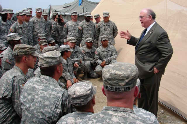 The Honorable Joseph W. Westphal, Under Secretary of the Army, addresses a group of Soldiers from 2nd Brigade, 82nd Airborne Division, in Haiti. The Soldiers are in Haiti providing humanitarian assistance and disaster relief as part of Operation Unified Response. Westphal thanked not only the assembled paratroopers for their service but also their families for their continued support and sacrifice.