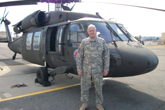 RONKONKOMA, NY-- Chief Warrant Officer Herbert Dargue, an Army pilot since 1967, will fly his last flight with the New York Army National Guard on March 26,2010. Dargue, who has more than 21,000 hours flight time in military and civilian helicopters, will be honored by his unit