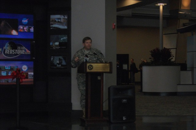 Brig. Gen. Christopher Tucker speaking at the ribbon cutting.