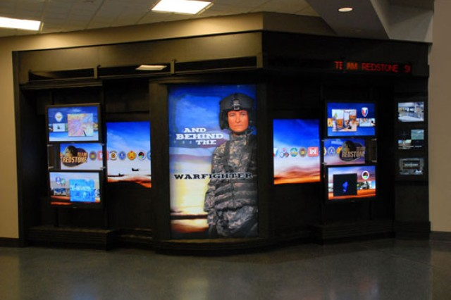 The new Team Redstone interactive display at Huntsville International Airport.