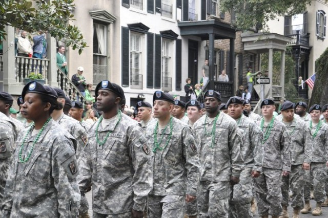 Soldiers from the 260th Quartermaster Battalion march in the St. Patrick's Day parade through downtown Savannah, March 17.