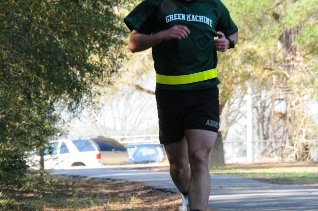 Josh Christy establishes a healthy pace during the 2.6-mile Iron Aviator run.